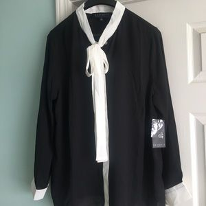 Black & White Tie Neck Blouse SOLD OUT by Eloquii